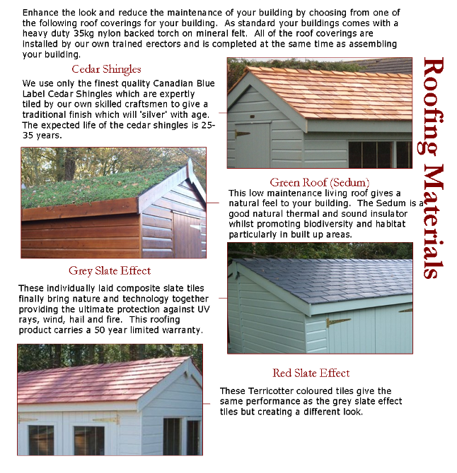 Summerhouse Roofing Options